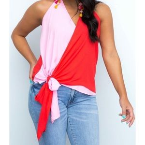 Two tone Pink/Red halter S
